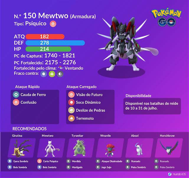 Confira o guia de batalha de reide para enfrentar Mewtwo de Armadura em Pokémon GO