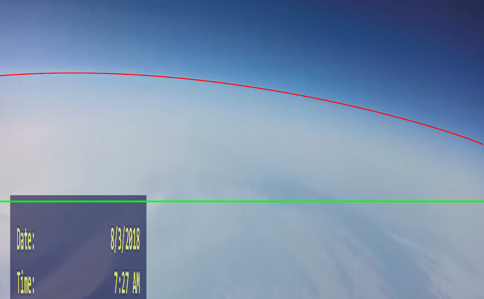 Earth curvature from a high-altitude balloon - stretched