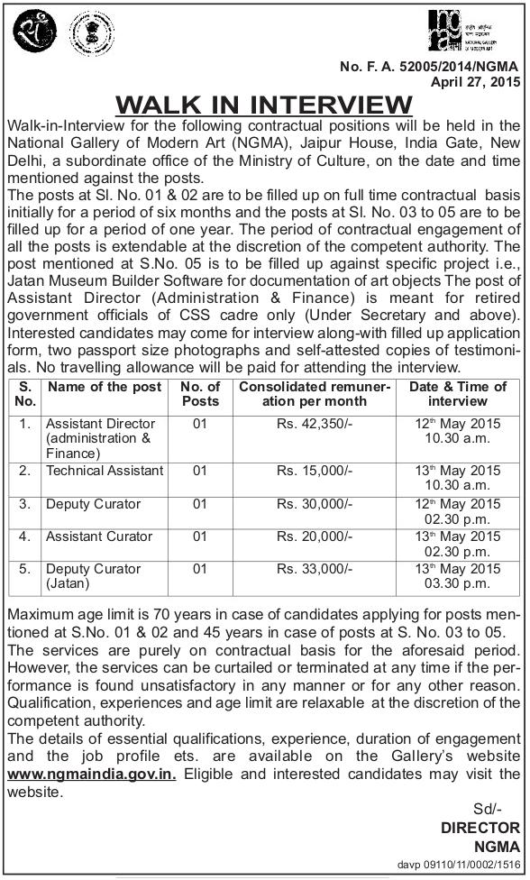 NGMA%2B-%2Bwww.indgovtjobs.in Govt Job Form For Th P In Delhi on