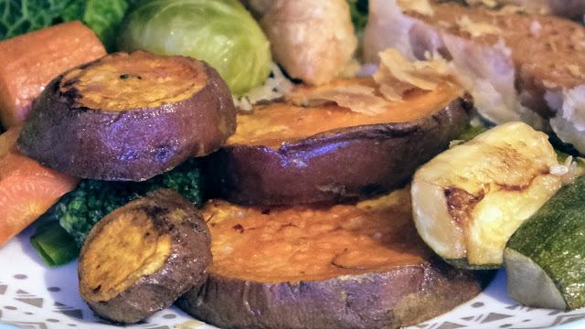 Roasted sweet potato close up