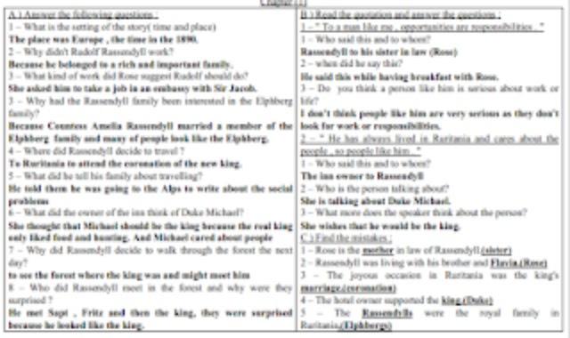 اسئلة قصة سجين زندا واجاباتها من كتاب سجين زندا ولونجمان والامتحانات للثانوية العامة من موقع درس انجليزي