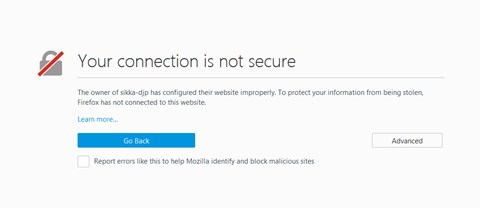 Pada Mozila Firefox :Error Your Connection is Not Secure