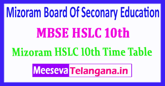 MBSE HSLC 10th Mizoram Board Of Seconary Education 10th Exam Time Table