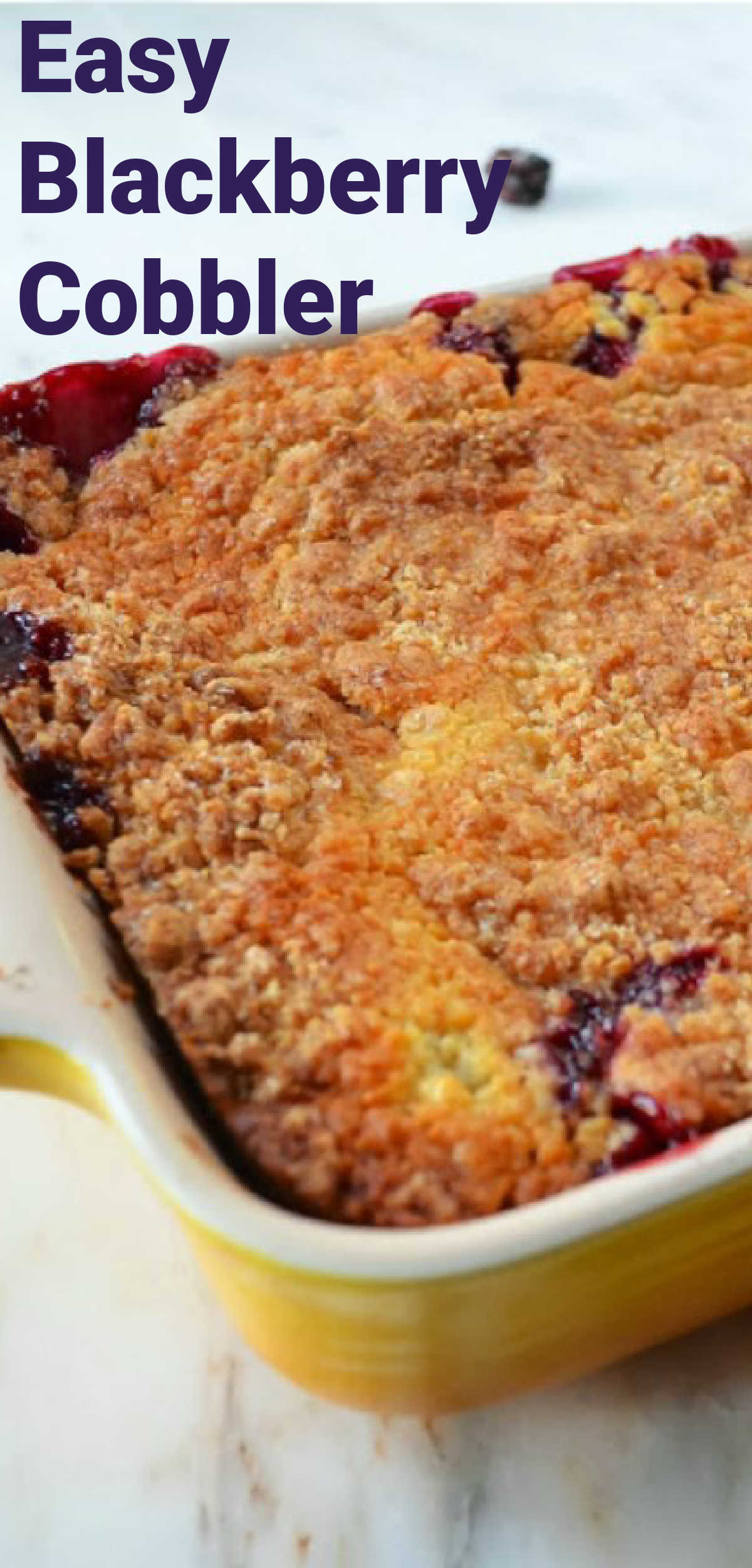 Easy Blackberry Cobbler recipe in a pan.