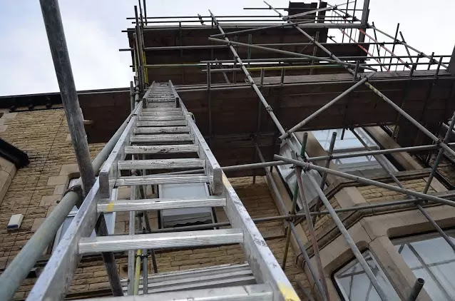 Safety measure for ladder and deep foundation or pilling work
