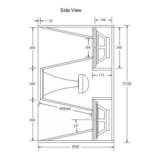 Tampak samping desain speaker box