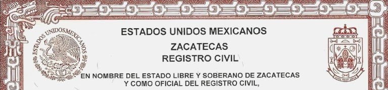Spanish English Certified Translation Of Birth Certificate, Zacatecas,  Mexico.