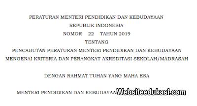 Permendikbud 22 Tahun 2019 Pencabuatan Kriteria dan Perangkat Akreditasi S/M