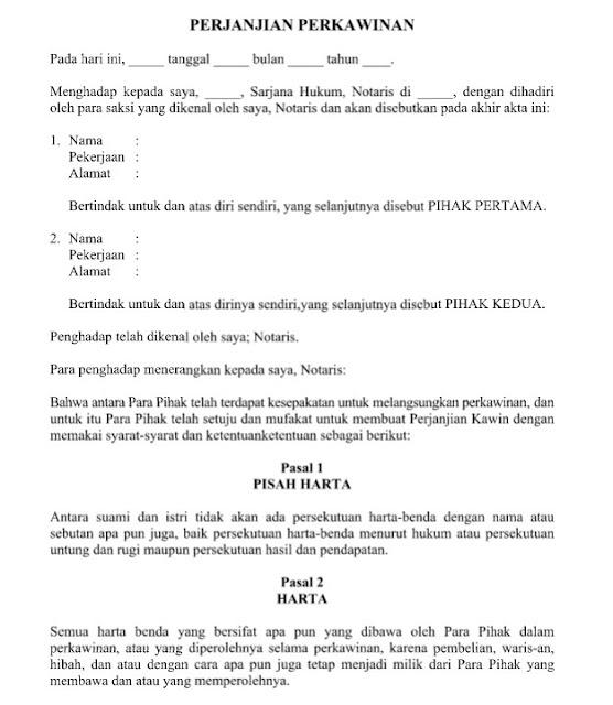 Contoh Surat Perjanjian Perkawinan Dengan 8 Pasal Didalamnya Format File Word