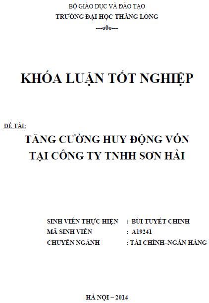 Tăng cường huy động vốn tại Công ty TNHH Sơn Hải
