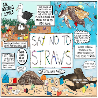 Ocean Life cartoon plastic waste