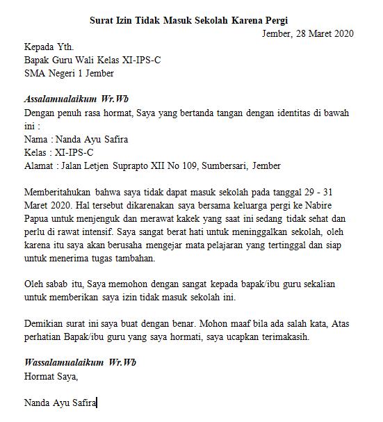 Contoh Surat Izin Sekolah Karena Urusan Keluarga (via: kudupintar.com)