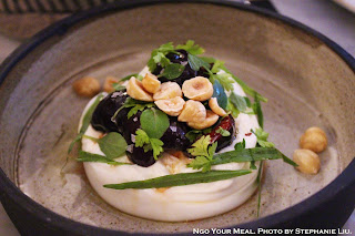 Burrata, Pickled Cherries, Hazelnuts, Herbs at Ellsworth in Paris