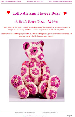 Lollo African Flower Bear Pattern is available!