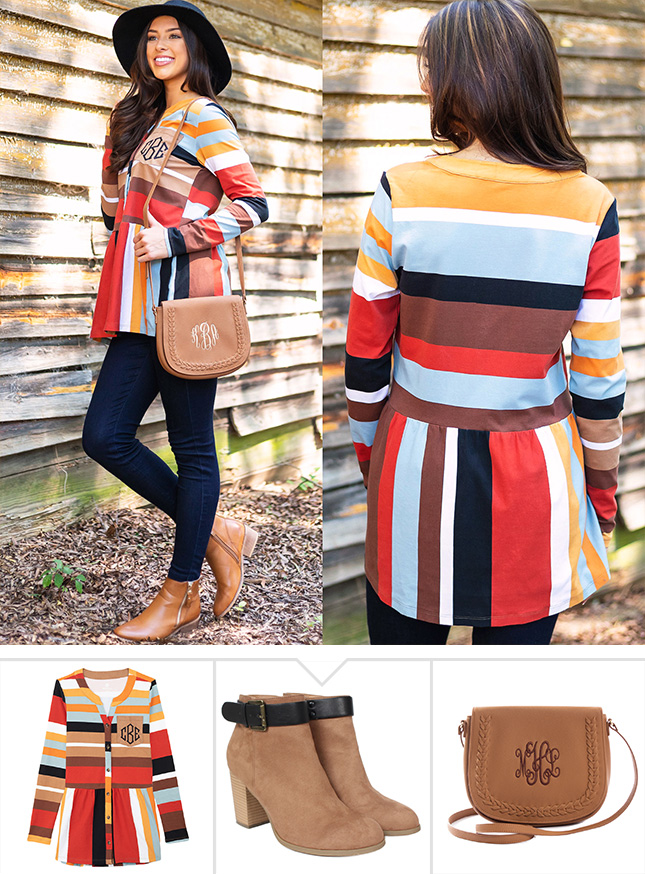colorblock and stripes tunic for fall ootd