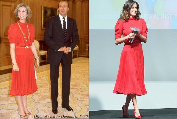 The red dress worn by Queen Letizia is an old dress of her mother-in-law Queen Sofia.