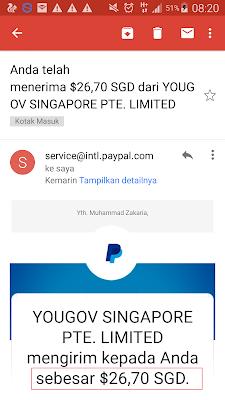 Bukti Pembayaran 26 Dollar Singapore Gratis dari Yougov