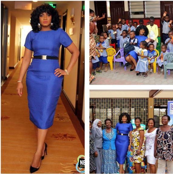 omotola jalade visit orphanage