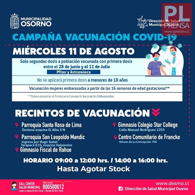 Osorno: Vacunación y dosis de refuerzo contra el COVID19