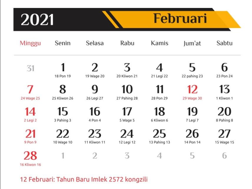 Gratis Template Kalendar 2021