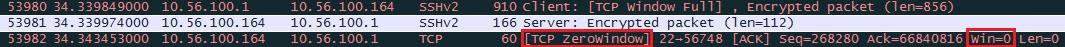 Wireshark التقاط نافذة TCP صفر