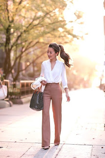 White blouse with purple pants