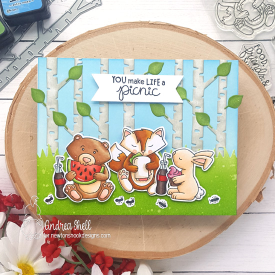 Woodland Picnic Card by Andrea Shell | Newton's Picnic Stamp Set, Forest Scene Builder Die Set and Land Borders Die Set by Newton's Nook Designs #newtonsnook #handmade