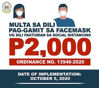 P2K fine,  jail time, community service for face mask violators in CDO