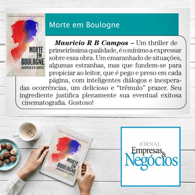 Nota sobre Morte em Boulogne no Jornal Empresas e Negócios