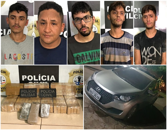 Polícia prende cinco suspeitos de tráfico com 25 quilos de drogas em Presidente Dutra