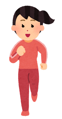正面から見た走る女性のイラスト(長袖)