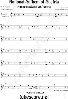 Partitura del Himno Nacional de Austria para Trompeta y Fliscorno National Anthem of Austria Sheet Music for Trumpet and Flugelhorn Music Scores Nationalhymne Noten für Trompete und Flügelhorn Österreich