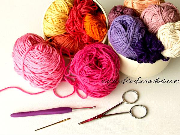 materiales para tejer flores crochet