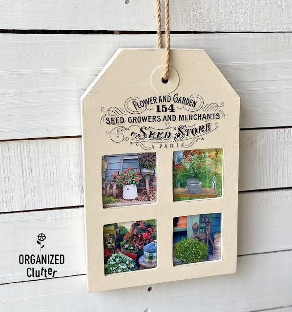 Photo of tag collage frame with flower garden photos and garden decor transfer