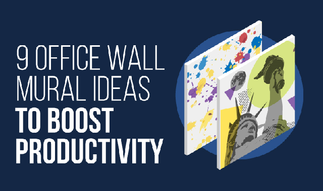 9 Office Wall Mural Ideas to Boost Productivity #infographic