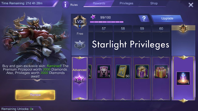Starlight and Recharge Rewards Mobile Legends