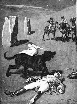A huge dog stands over the corpses of its two victims that it attacked.