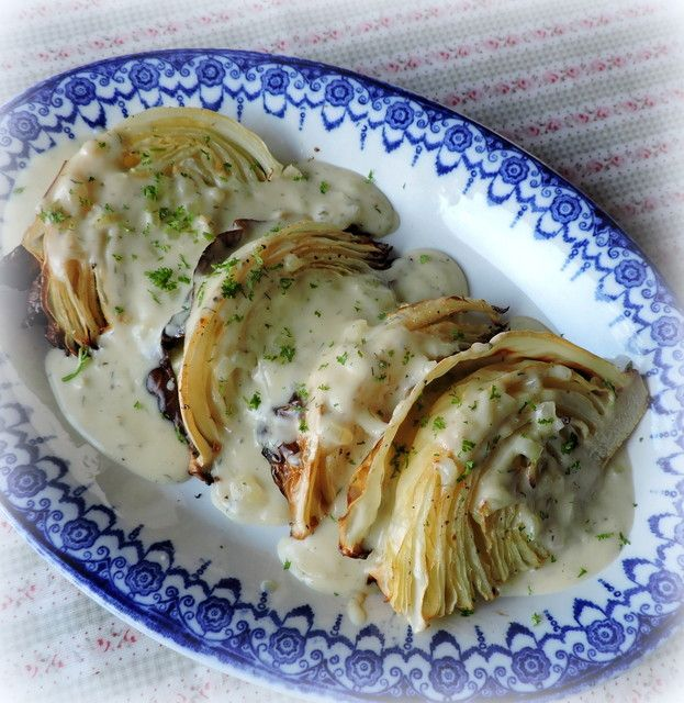 Roast Cabbage with a Dill & Mustard Sauce