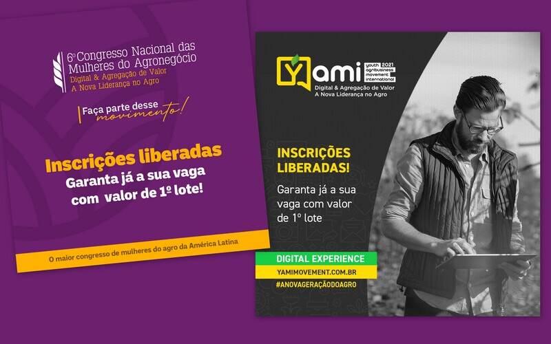 As inscrições para a 6ª edição do Congresso Nacional do Agronegócio - CNMA e a 3ª edição do Youth Agribusiness Movement International - YAMI estão abertas. Os eventos serão realizados nos dias 25, 26 e 27 de outubro, em formato Digital Experience.