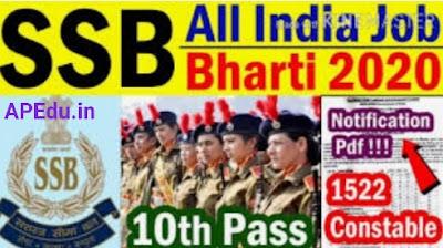 SSB Constable Online Form 2020 - 1522 posts
