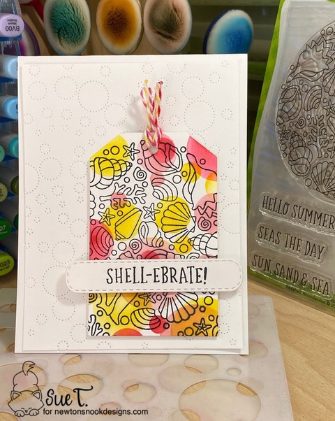 Shell-ebrate by Sue features Seashell Roundabout,  Bokeh,  Fancy Edges Tag, and  Banner Trio  by Newton's Nook Designs; #inkypaws, #newtonsnook, #cardmaking, #summercards