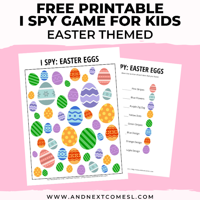 Free I spy game printable for kids: Easter themed