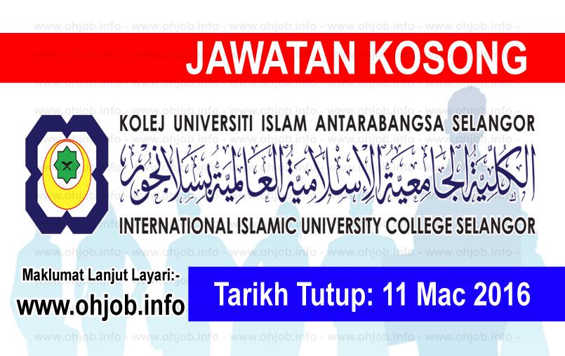 Jawatan Kerja Kosong Kolej Universiti Islam Antarabangsa Selangor (KUIS) logo www.ohjob.info mac 2016