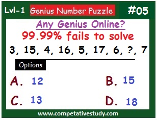 Number Puzzle: Find the missing number: 3, 15, 4, 16, 5, 17, 6, ?, 7