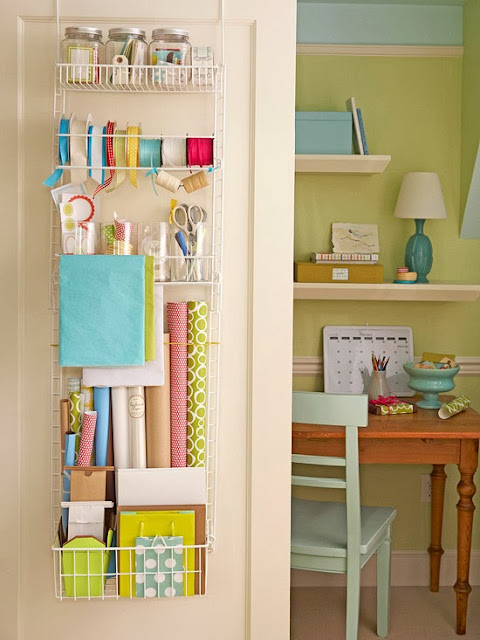 Use the back of the door to organize