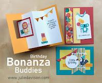 Stampin' Up! Birthday Bonanza Buddies Card Kit ~ Jan-Jun 2020 Mini Catalog ~ www.juliedavison.com #stampinup #birthday