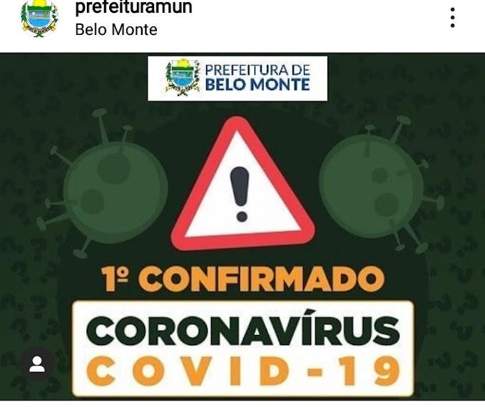 EM NOTA, PREFEITURA DE BELO MONTE INFORMA PRIMEIRO CASO CONFIRMADO PARA COVID-19 NO MUNICÍPIO