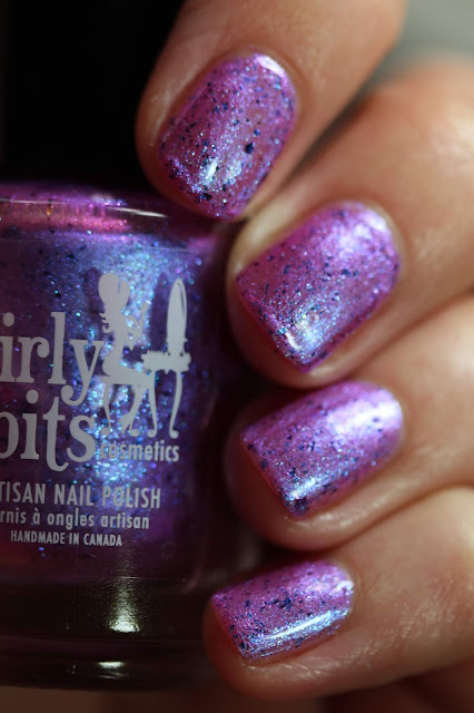Girly Bits My Nink & My Drails swatch shimmer purple with blue flakes nail polish