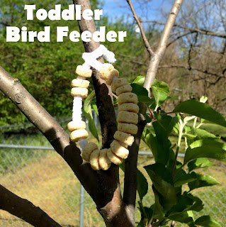 Toddler-made bird feeder