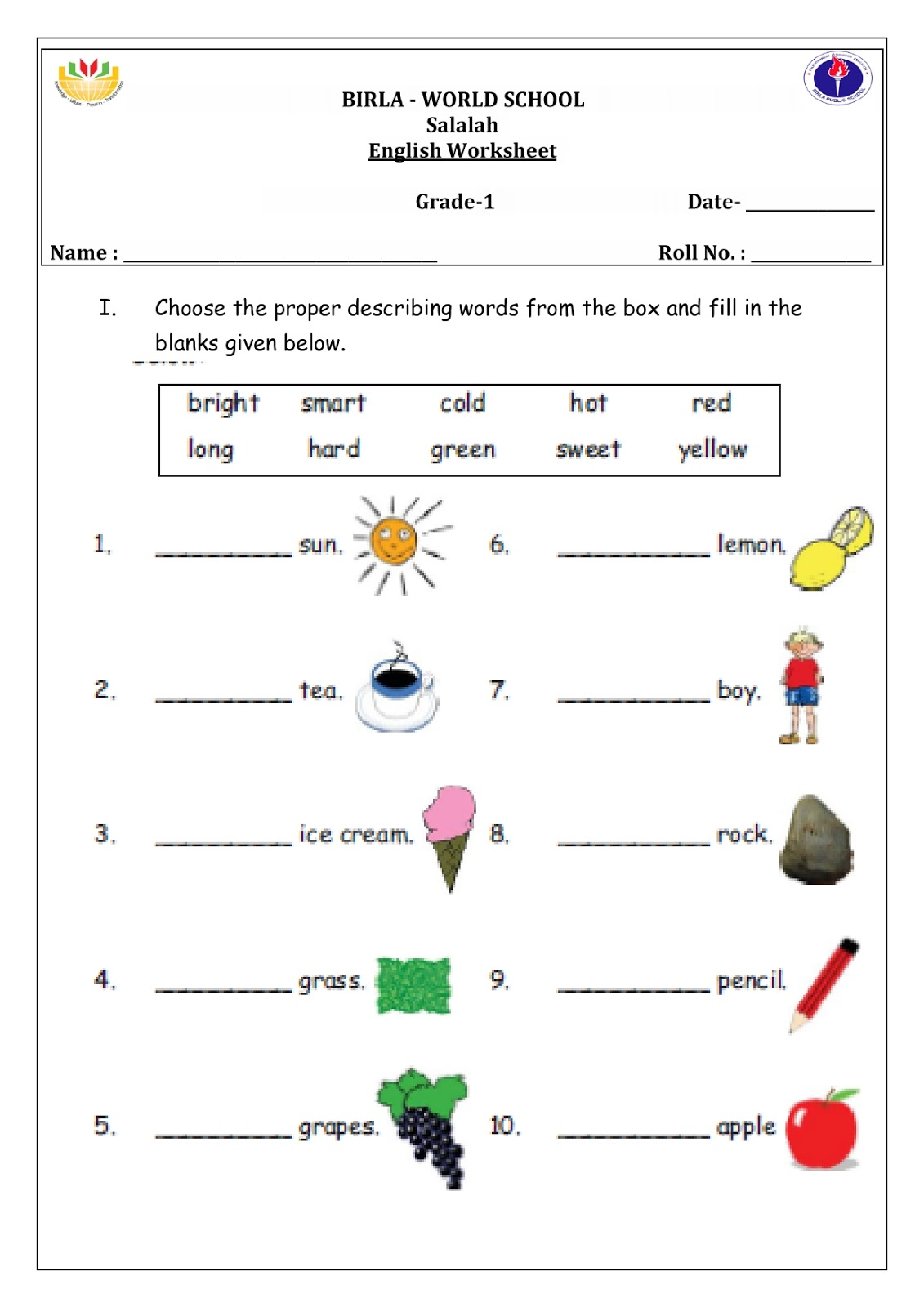 Birla World School Oman Homework For Grade 1b On 21 1 16